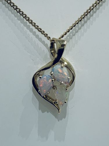 Three Stone Pear Shaped Opal Yellow Gold Necklace